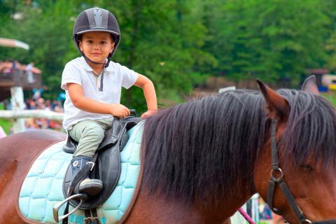 pueden montar a caballo niños